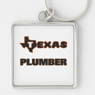 Texas Plumber Silver-Colored Square Keychain