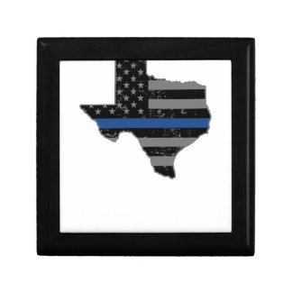 Texas Police & Law Enforcement Thin Blue Line Keepsake Box