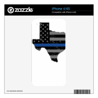 Texas Police & Law Enforcement Thin Blue Line Skin For iPhone 4S