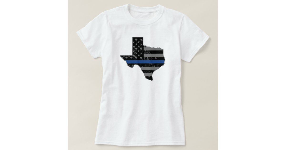 Texas police officer thin blue line t shirt zazzle for Texas thin blue line shirt