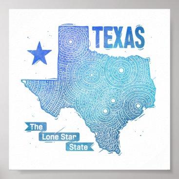 USA Themed Texas Poster