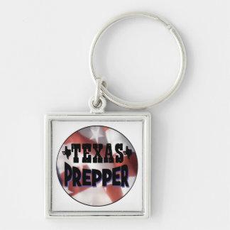 Texas Prepper Silver-Colored Square Keychain