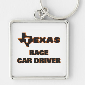 Texas Race Car Driver Silver-Colored Square Keychain