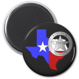 Texas Ranger Tea Party - Black 2 Inch Round Magnet