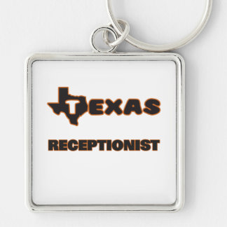 Texas Receptionist Silver-Colored Square Keychain