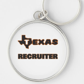 Texas Recruiter Silver-Colored Round Keychain