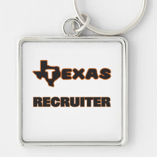 Texas Recruiter Silver-Colored Square Keychain