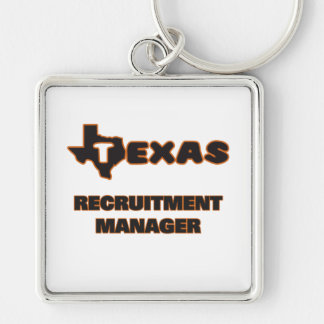 Texas Recruitment Manager Silver-Colored Square Keychain