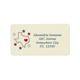 Texas Red Heart Custom Address Labels