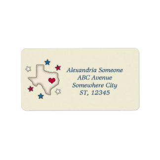 Texas Red Heart Custom Address Labels