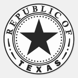 Texas (Republic of Texas Seal) Classic Round Sticker