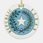 Texas (Republic of Texas Seal Color) Double-Sided Ceramic Round Christmas Ornament