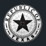 "Texas (Republic of Texas Seal) Dartboard<br><div class=""desc"">Texas&#160;is the&#160;second most populous&#160;(after California) and the&#160;second-largest&#160;of the&#160;50 states&#160;(after Alaska) in the&#160;United States of America, and the largest state in the&#160;48 contiguous United States. Geographically located in the&#160;South Central&#160;part of the country, Texas shares an&#160;international border&#160;with theMexican&#160;states&#160;of&#160;Chihuahua, &#160;Coahuila, &#160;Nuevo Le&#243;n, and&#160;Tamaulipas&#160;to the south and borders the&#160;U.S. states&#160;of&#160;New Mexico&#160;to the west, &#160;Oklahoma&#160;to...</div>"