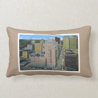 Texas Retro Forth Worth Skyline Buildings Lumbar Pillow