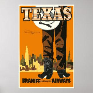 Texas Retro Travel Poster