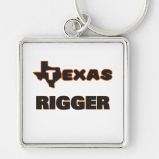 Texas Rigger Silver-Colored Square Keychain