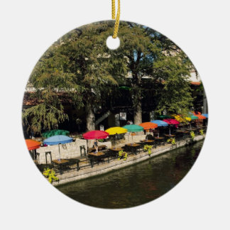 Texas, Riverwalk, dining on river's edge Ceramic Ornament