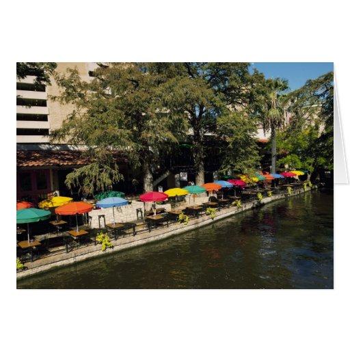 Texas, Riverwalk, dining on river's edge Greeting Card