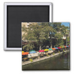 Texas, Riverwalk, dining on river's edge 2 Inch Square Magnet