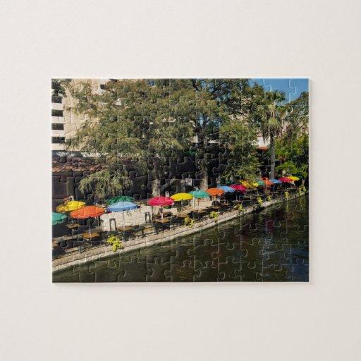 Texas, Riverwalk, dining on river's edge Jigsaw Puzzles