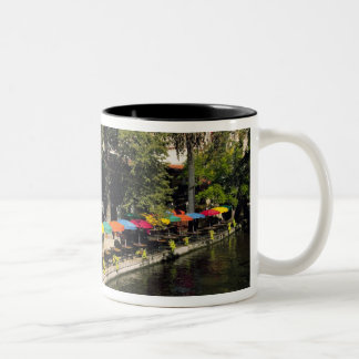 Texas, Riverwalk, dining on river's edge Two-Tone Coffee Mug