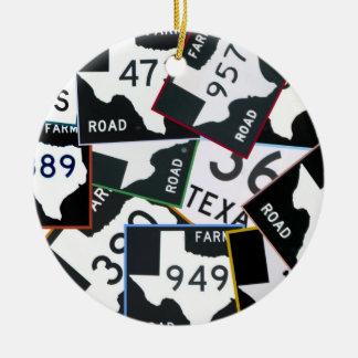 Texas Roadsigns Ceramic Ornament