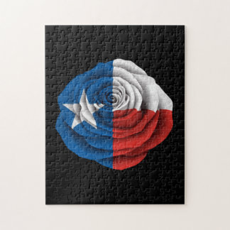 Texas Rose Flag on Black Jigsaw Puzzle