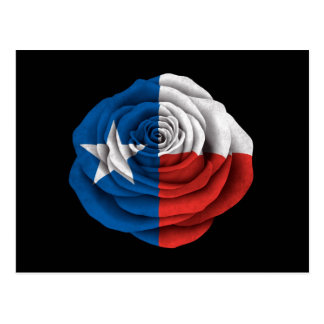 Texas Rose Flag on Black Postcard