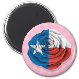 Texas Rose Flag on Pink Magnet