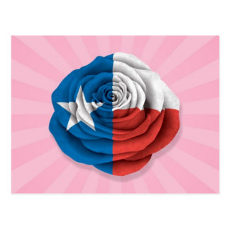 Texas Rose Flag on Pink Postcard