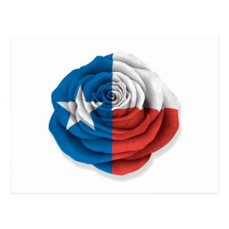 Texas Rose Flag on White Postcard