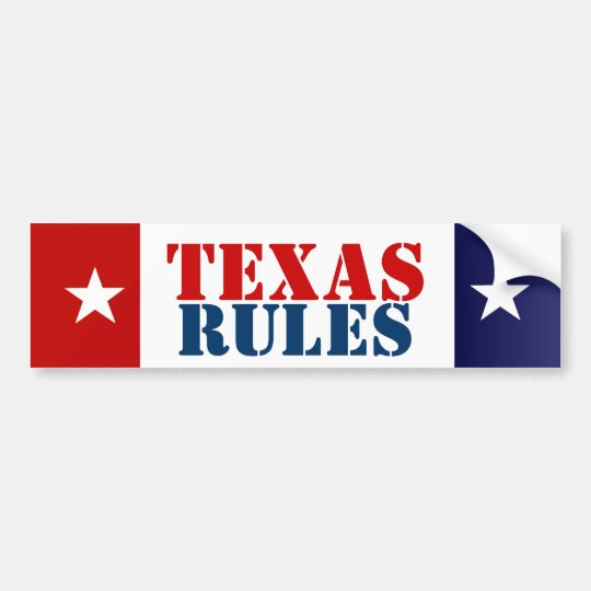 TEXAS RULES BUMPER STICKER