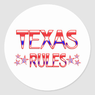 Texas Rules Round Stickers
