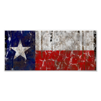 Texas Rusted Lone Star State Flag Poster