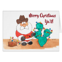 Texas Santa Christmas Card