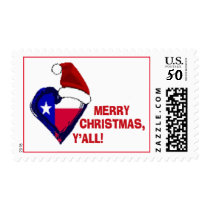 Texas Santa - Merry Christmas Y'all! Postage