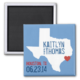 Texas Save the Date - Customizable City 2 Inch Square Magnet