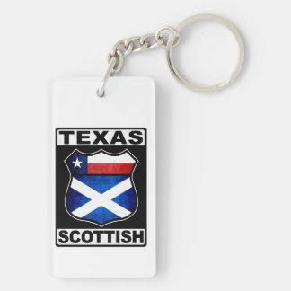 Texas Scottish American Double-Sided Rectangular Acrylic Keychain