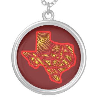 Texas Scribbleprint Art Round Pendant Necklace