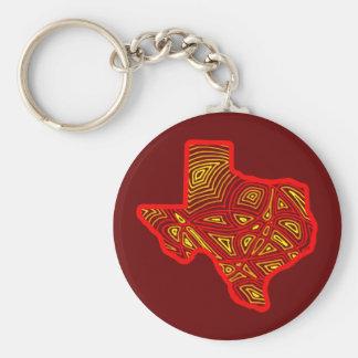 Texas Scribbleprint Basic Round Button Keychain