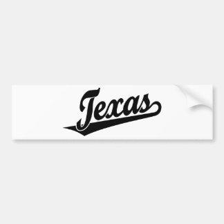Texas script logo in black bumper sticker
