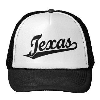 Texas script logo in black trucker hat