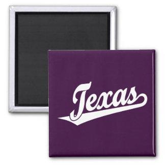 Texas script logo in white 2 inch square magnet