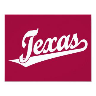 Texas script logo in white card