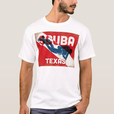 Texas Scuba Diver - Blue Retro T-Shirt