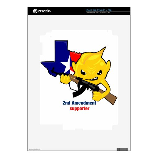 Texas Second Amendment Rights Supporter Decals For The iPad 2