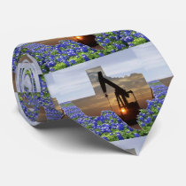 Texas Shape With Oil Pump Jack And Bluebonnets Neck Tie