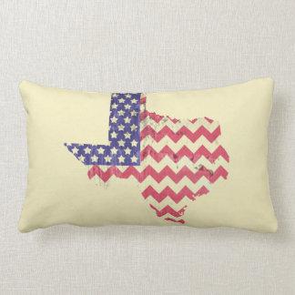 Texas Shaped Chevron American Flag Lumbar Pillow