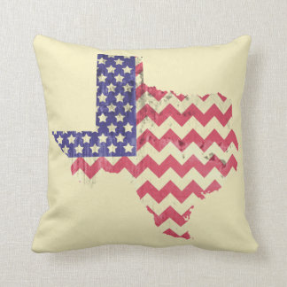Texas Shaped Chevron American Flag Pillow