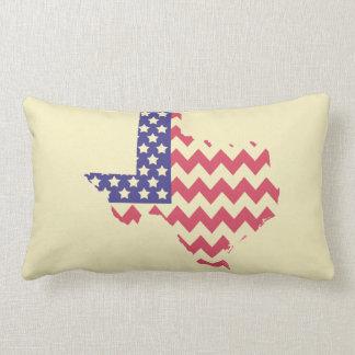 Texas Shaped Chevron Striped American Flag Pillow